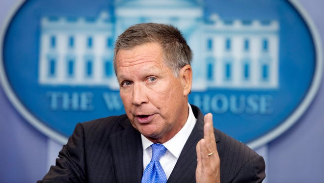 John Kasich speaks during a news conference following a meeting on the Trans-Pacific Partnership at the White House on Sept. 16, 2016.