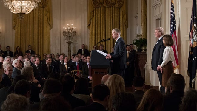Neil Gorsuch speaks in the East Room of the White House on Jan. 31, 2017, after President Trump announced his nomination to the Supreme Court.