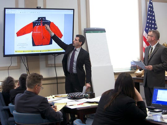 Assistant Prosecutor Matthew Troiano, c, questions NJ State Police Forensic Scientist Daniel Neyer, r,  during direct testimony in the Virginia Vertetis murder trial in Morris County Superior Court. Vertetis is accused of murdering her ex-boyfriend at her home in Mount Olive in March 2014. March 15, 2017, Morristown, NJ