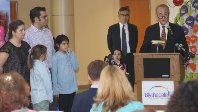 Sen. Charles Schumer speaks at Blythedale Children's Hospital on May 26, 2017, about the president's proposed cuts to Medicaid.