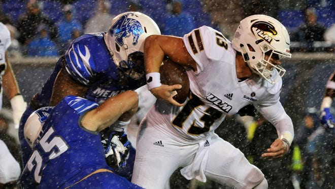 Smith (13) put up 219 total yards (171 passing, 48 rushing), two total touchdowns and two turnovers in ULM's 37-29 season-opening loss at Memphis.