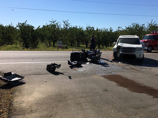 Deputies say an SUV driver pulled in front of an oncoming motorcyclist Thursday morning on River Road.