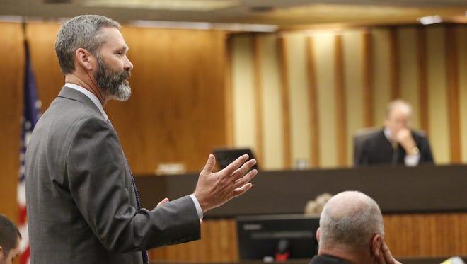 Fond du Lac County District Attorney Dennis Krueger questions fingerprint expert Karley Hujet on Tuesday in the Dennis Brantner murder trial.