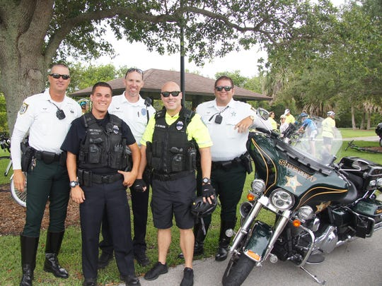 """The Vero Beach Police Department and Indian River County Sheriff's Officeescorts at the 2018 Ride of Silence: Sheriff's DeputiesDoug McKenzie andKevin """"Jaws"""" Jaworski and Police Officers Jeremiah Willis, Dave Farquharson, andRichard Chimenti."""