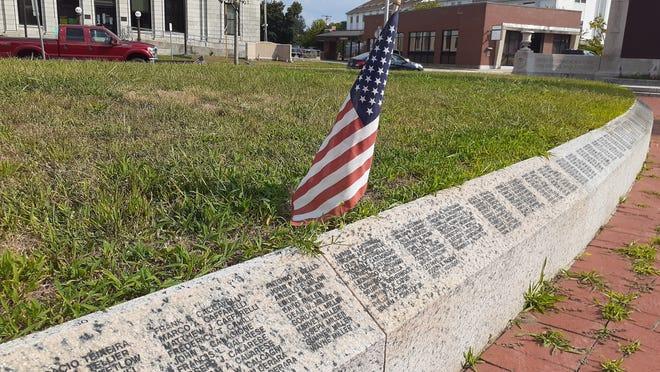The wall of fallen Milford veterans at Draper Park.