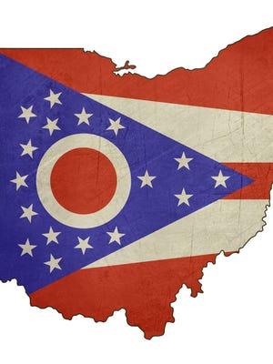 Grunge state of Ohio flag map