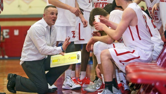 Tappan Zee coach George Gaine coaches during a timout