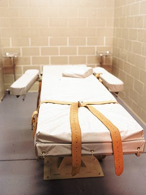 The lethal injection execution chamber at the Arizona State Prison in Florence, as pictured in 1993.