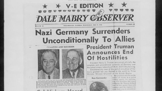 """The front page of the """"Dale Mabry Observer"""" after Victory in Europe after WWII"""