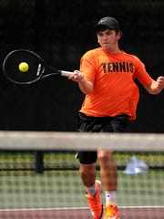 Burkburnett's Marcus Kleckner returns a ball during his match against Boerne's Ryan Koth in the Class 4A boys singles quarterfinal at the UIL State Tennis Championships on Thursday, May 18, 2017, at the George P. Mitchell Tennis Center in College Station.