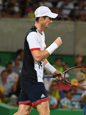 Andy Murray competes against Juan Martin Del Potro in a men's singles gold medal match at Olympic Tennis Centre during the Rio 2016 Summer Olympic Games.