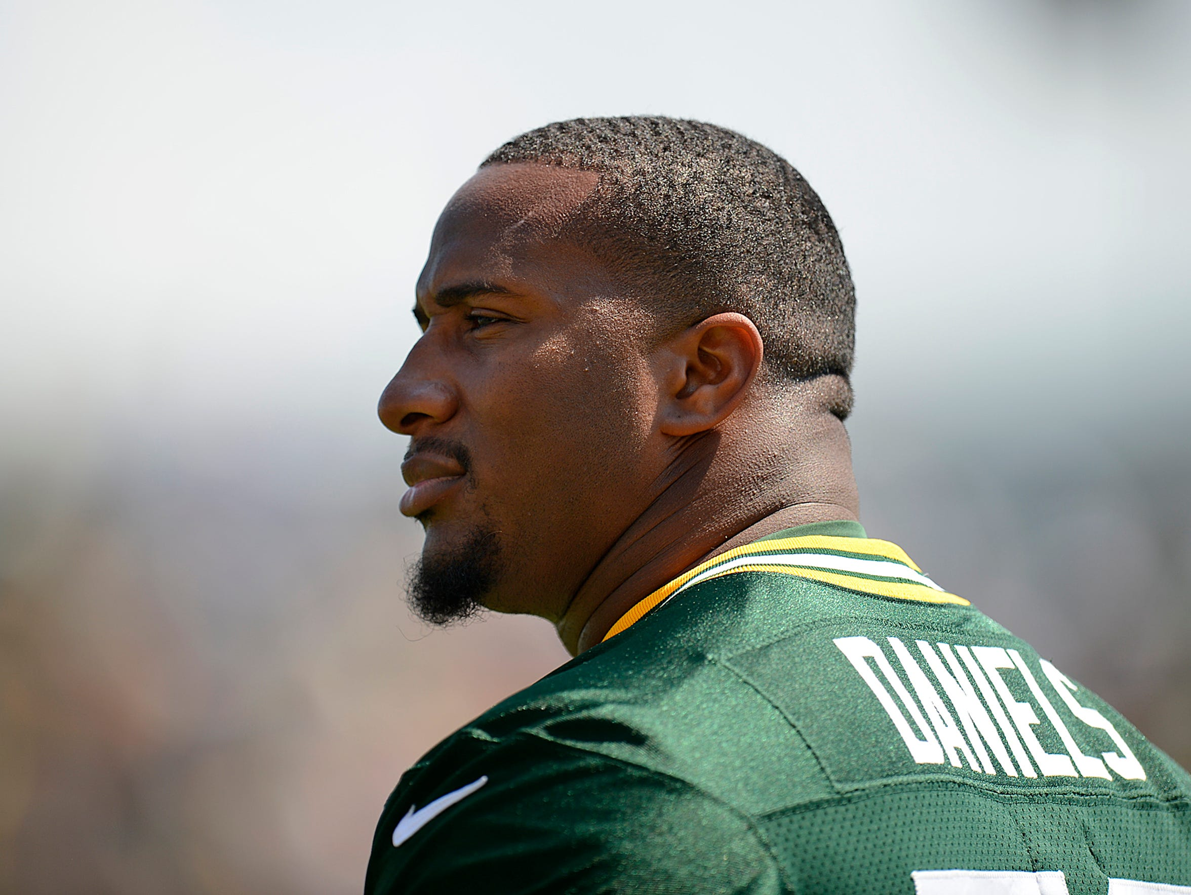 Green Bay Packers defensive tackle Mike Daniels looks