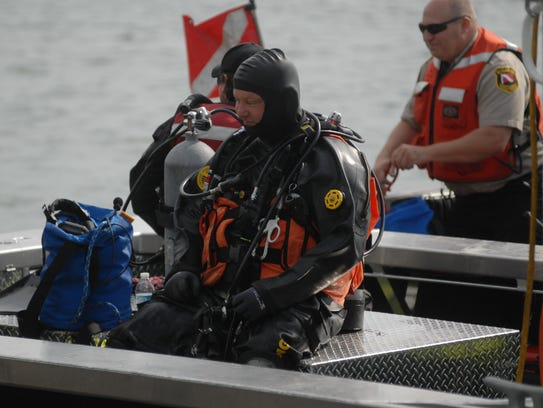 David Koester, of the St. Clair County Dive Team, waits