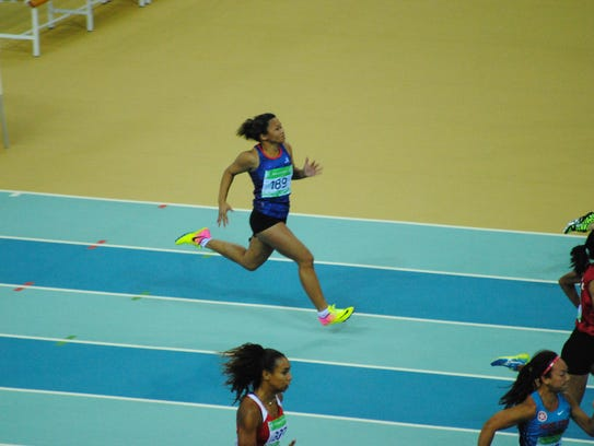 Shania Bulala sprints at the Asian Indoor and Martial