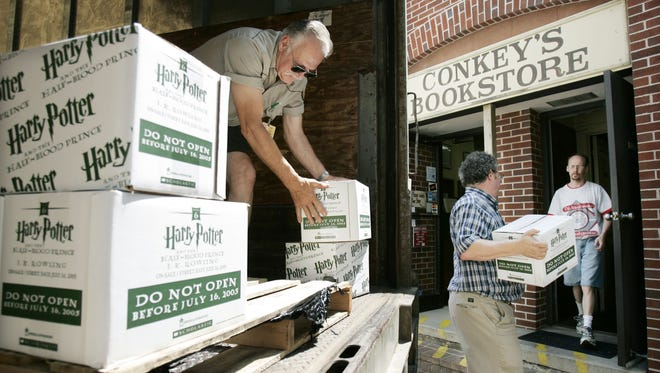 Conkey's left downtown Appleton, but hasn't been forgotten by its fans. Shown here, a happy moment when Harry Potter books arrived at the store in 2005.