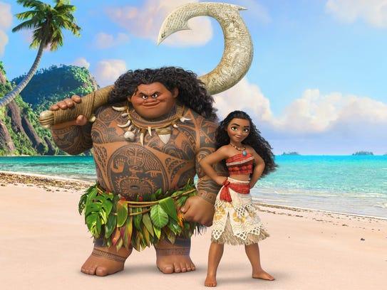 Maui (voiced by Dwayne Johnson) and Moana (Auli'i Cravalho)