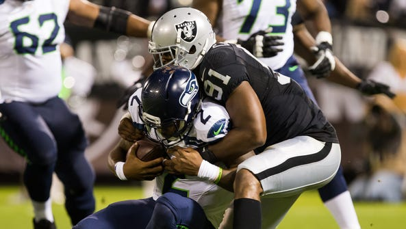 Shilique Calhoun played in 10 games for the Raiders