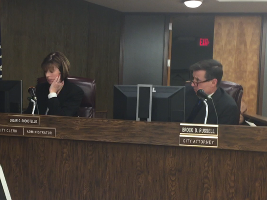 Millville city Solicitor Brock Russell (left) on Tuesday