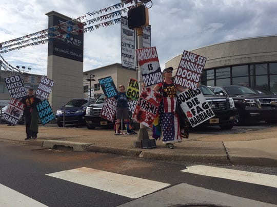 Protesters from Westboro Baptist Church outside the