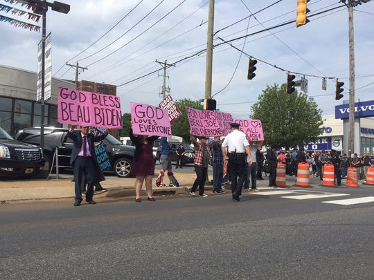 Protesters against the Westboro Baptist protest line