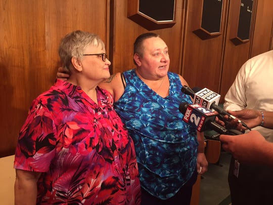 Cindy Saul and Kim Seer said they were overwhelmed after marrying at the Oakland County Clerk's Office.