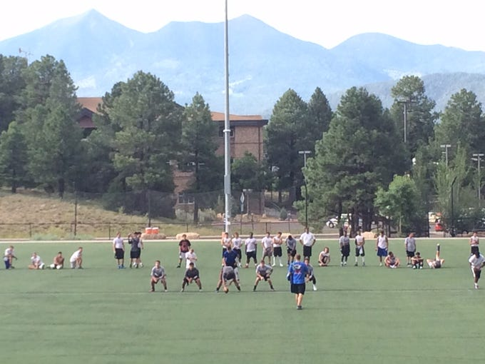 Joy Christian football at NAU camp in Flagstaff.