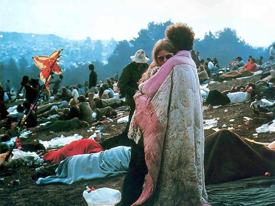 """Meet Woodstock's famous """"hugging couple"""" during a two-day"""
