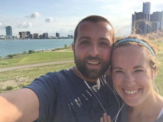 Jason and Megan Warzecha of Detroit train together for the Detroit Free Press/Talmer Bank International Half Marathon with a run along the Detroit River.