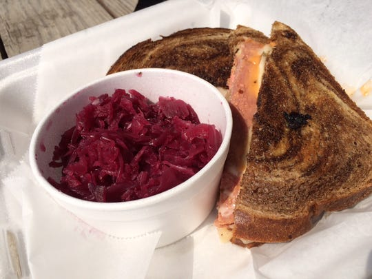 The Reuben and red cabbage at the Hessen Haus.