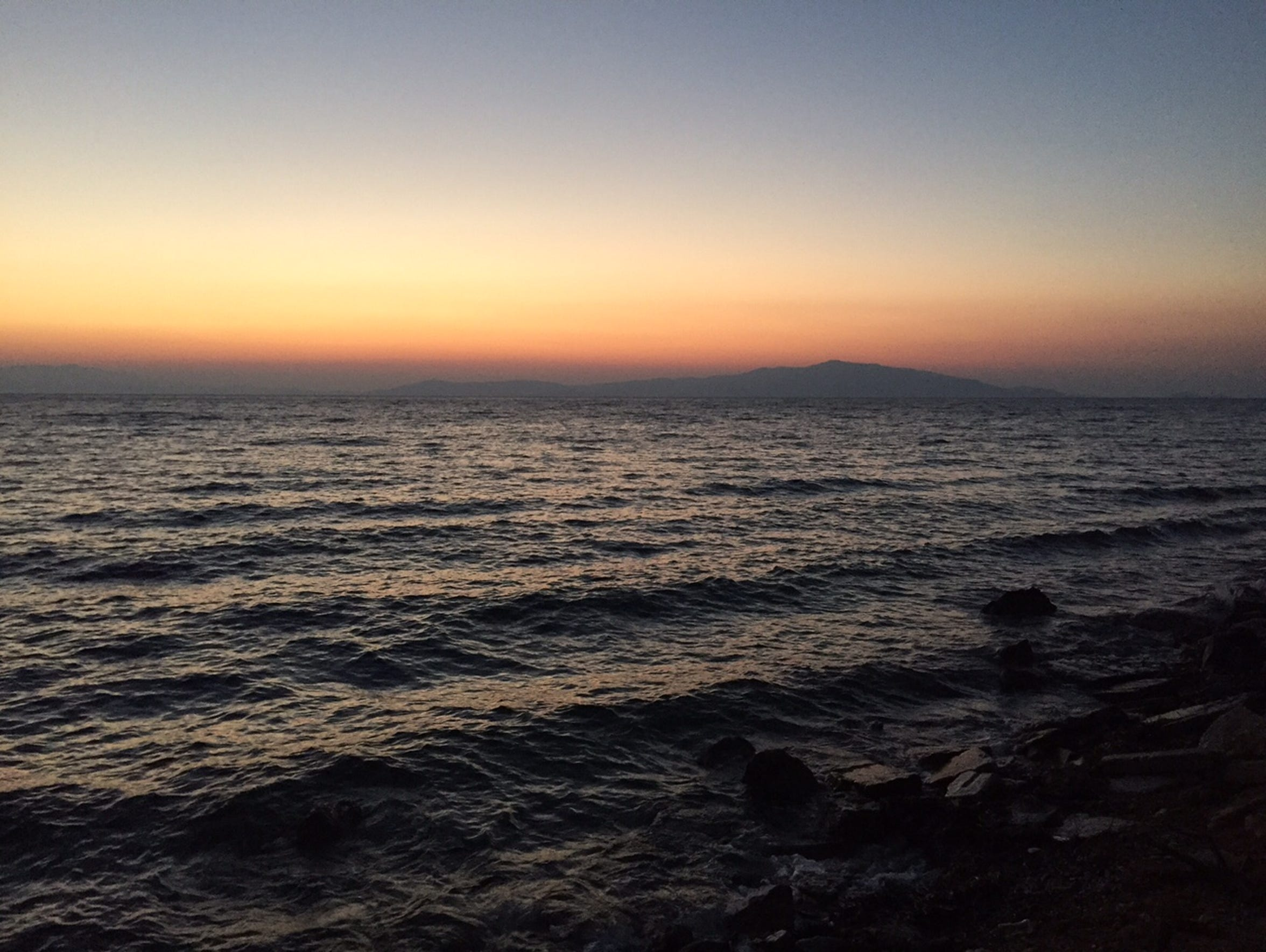 The Turkish mainland is visible from Lesbos, Greece,