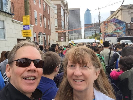 John & Cathy Lozes pose for a selfie in the security line to the 4 p.m. Mass with Pope Francis.