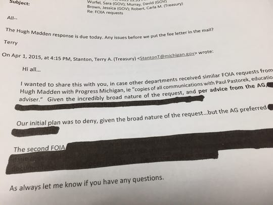 The state attempted to redact parts of this e-mail, but they were still legible.