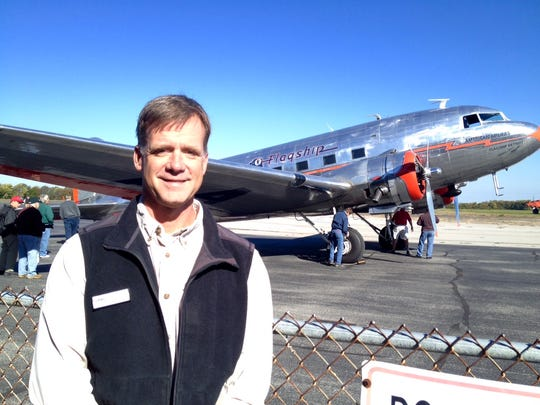 Pat MacDonald, president of the Bowman Field Aviation Heritage Foundation, is on hand Saturday for the arrival of the restored Flagship Detroit American Airlines DC-3 at Bowman.