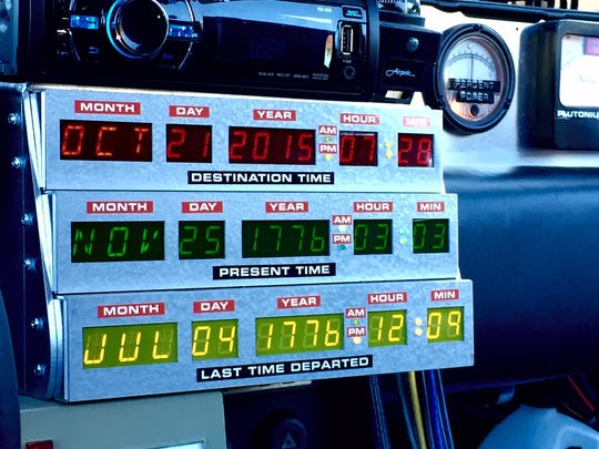 A look at the time machine dash board displayed inside Jeff Gladding's DeLorean, an exact replica of the time machine in the 1985 film 'Back to the Future.' Brian Loy says two things won't change with time: the importance of controlling the things you can control, and the time value of money.