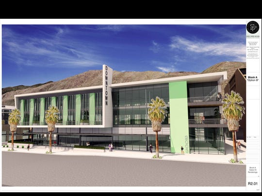 The building known as Block A in the downtown redevelopment of Palm Springs. The three-story building will house a West Elm store on the ground floor and residential lofts on the third floor.