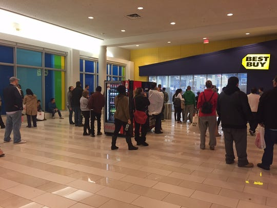 Black Friday shoppers at the Poughkeepsie Galleria wait for the doors to open at Best Buy.