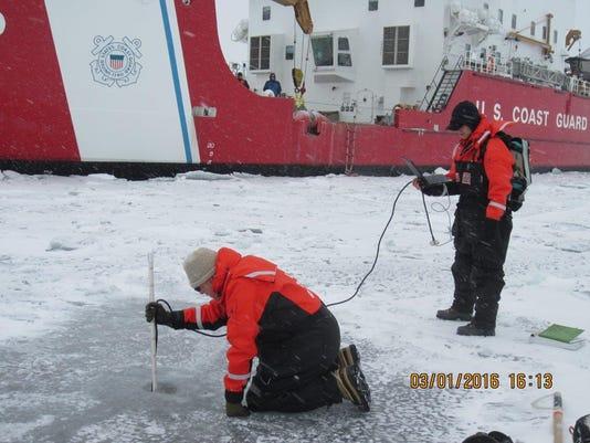 Ice testing with Mackinaw
