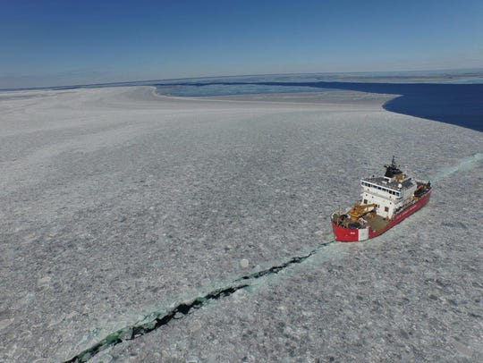 Photo of the CGC Mackinaw (WLBB 30) taken by a quadcopter
