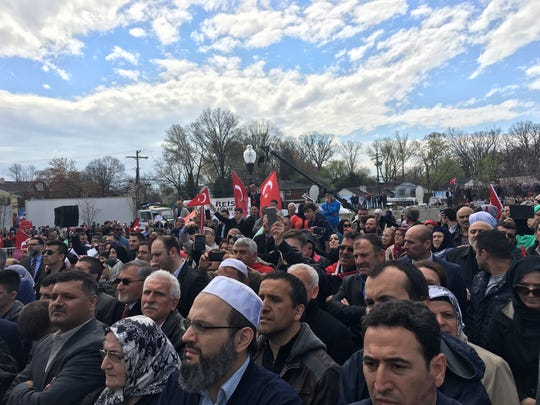 The crowd listens to Turkish President Recep Tayyip
