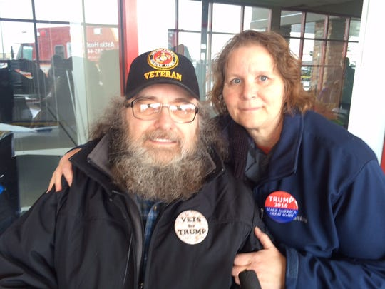 Robert and Corrine Stone, of Edgar, were among the first in line to see Donald Trump at his campaign rally Saturday in Rothschild.