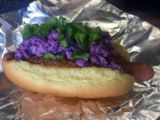 Redneck Caviar hot dog at Dawg House in Dobbs Ferry.