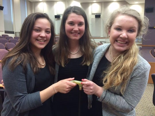 Mara Resop, Meghan Schneider and Stephany Beck pitched their business idea Klick-a-Kane to a panel of judges Wednesday at the University of Wisconsin-Oshkosh.