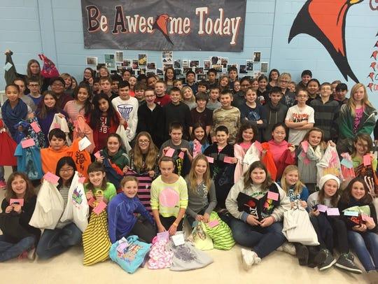 Sixth-graders at Bessie Allen Middle School in North