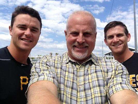 Pittsburgh Pirates prospects Kevin Kramer, left, and Kevin Newman