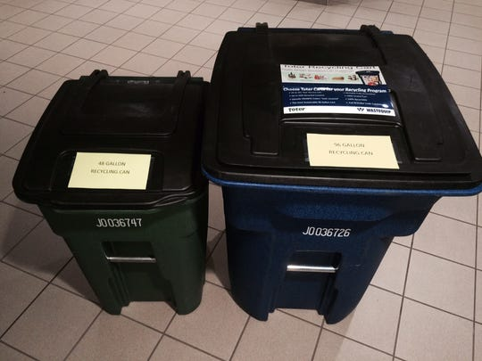 The city of Wisconsin Rapids is considering buying two sizes of recycling containers for residents: a 48-gallon cart (left) and 96-gallon cart (right).