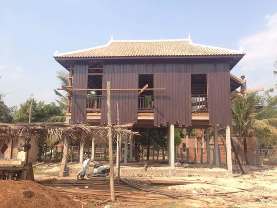 The house on stilts being built for the teachers at