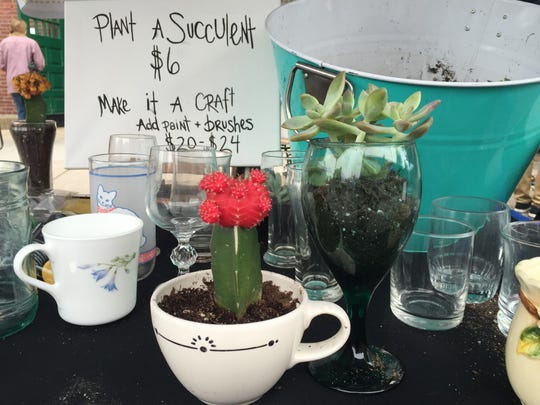 Prime Art Supply customers could plant succulents in wine glasses, coffee cups and other fun dishes during York Flea Saturday.
