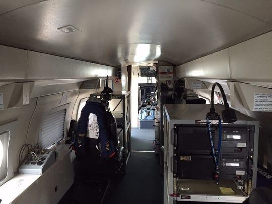 The inside of a NOAA G-IV Hurricane Hunter.