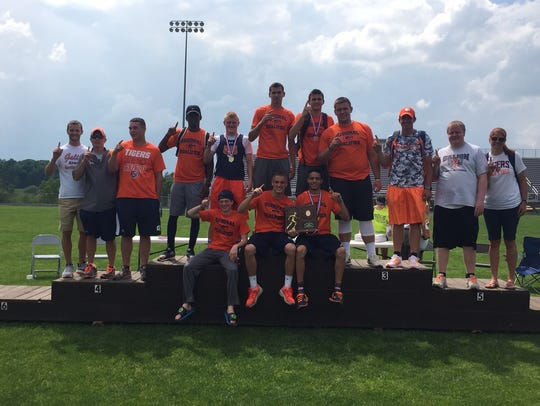 The Galion boys celebrate their Division II regional