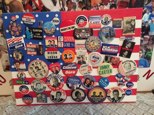 A number of political pins Corey Foister collected